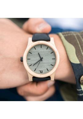 Pánske drevené hodinky s koženým remienkom v béžovej farbe