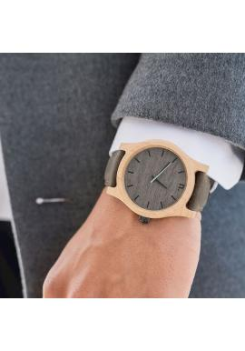 Sivo-olivové drevené hodinky s koženým remienkom pre pánov