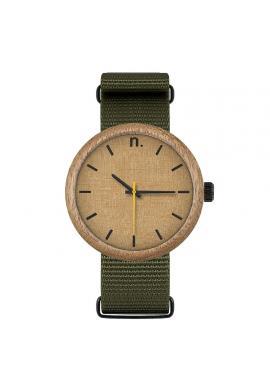 Drevené pánske hodinky sivo-modrej farby s koženým remienkom