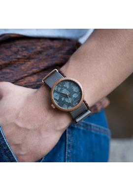Pánske drevené hodinky s textilným remienkom v zeleno-čiernej farbe