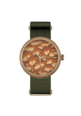 Zelené drevené hodinky s textilným remienkom pre pánov