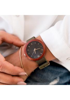 Drevené dámske hodinky béžovo-ružovej farby s textilným remienkom