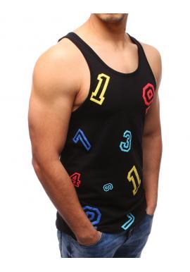 Čierne tričko bez rukávov s farebnou potlačou pre pánov