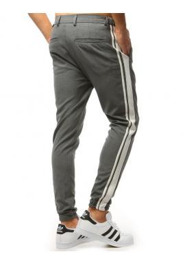 Pánske štýlové joggery s pásmi na bokoch v čiernej farbe