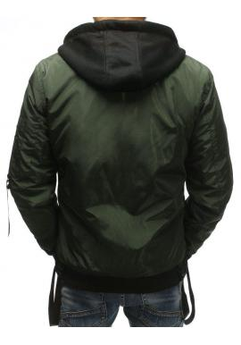 Pánska bomber bunda s kapucňou v bordovej farbe