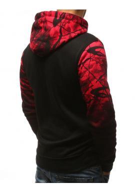 Štýlová pánska mikina červenej farby s kapucňou