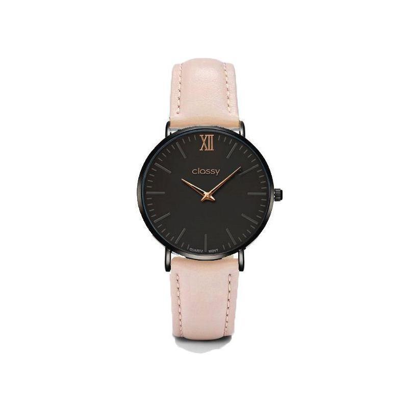 Módne dámske hodinky ružovej farby s čiernym ciferníkom - skvelamoda.sk 7a7bb74252