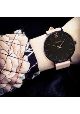 Elegantné dámske hodinky tmavosivej farby s ružovo-zlatým ciferníkom