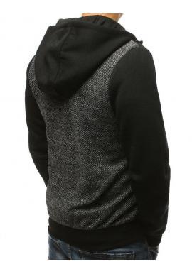 Športová pánska mikina sivo-čiernej farby s kapucňou