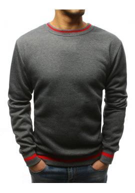 Červená módna mikina s kontrastnými vložkami pre pánov