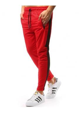 Čierne štýlové tepláky s červeným pásom na bokoch pre pánov