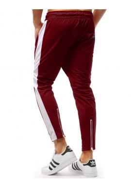 Štýlové pánske tepláky červenej farby s bielym pásom na bokoch