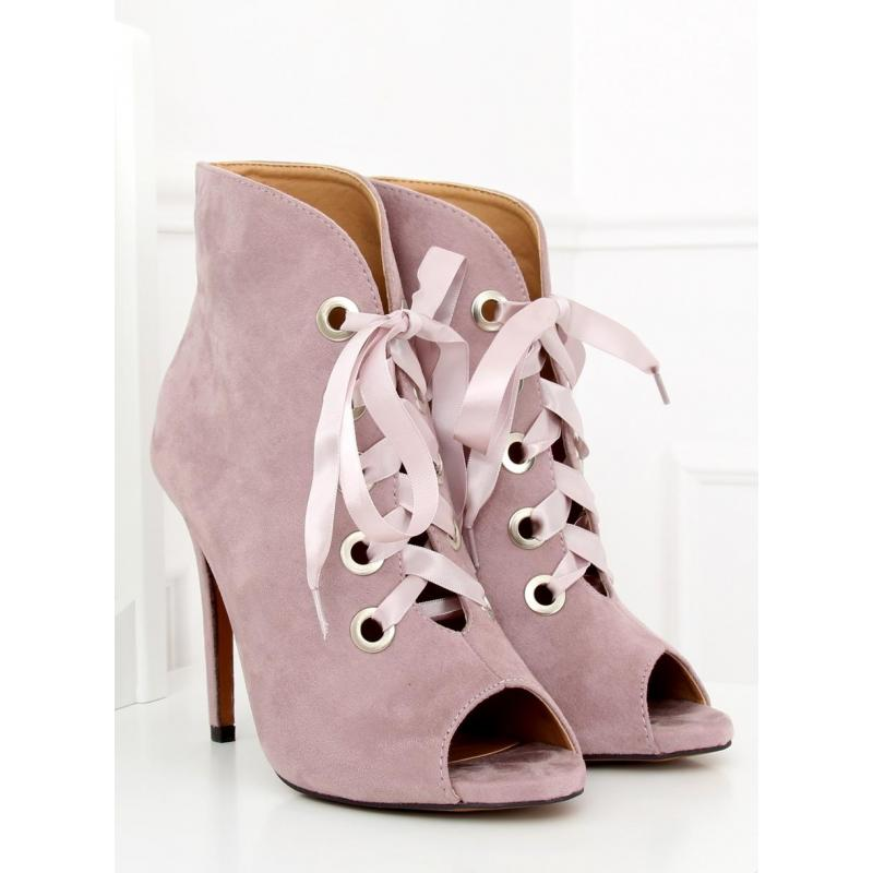 8849b31c28a1 Fialové semišové topánky na podpätku s otvorenou špičkou pre dámy ...