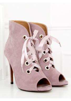 Zelené semišové topánky na podpätku s otvorenou špičkou pre dámy