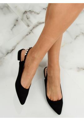 Čierne klasické balerínky so špicatými špičkami pre dámy