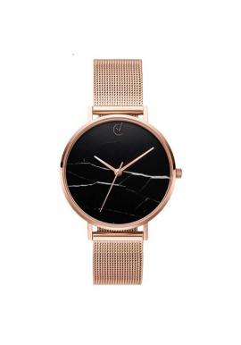 Dámske elegantné hodinky s čiernym ciferníkom v zlatej farbe