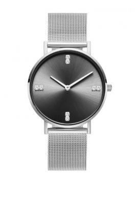 Dámske elegantné hodinky s čiernym ciferníkom v ružovo-zlatej farbe