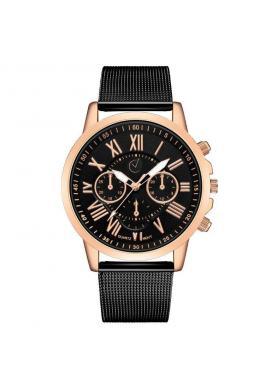 Dámske elegantné hodinky s čiernym ciferníkom v ružovo-zlatej farbe ... 85388a8ed45