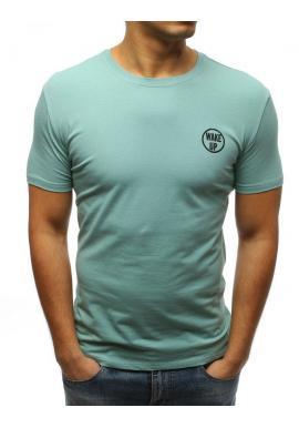 Pánske štýlové tričko s potlačou na hrudi v tmavomodrej farbe