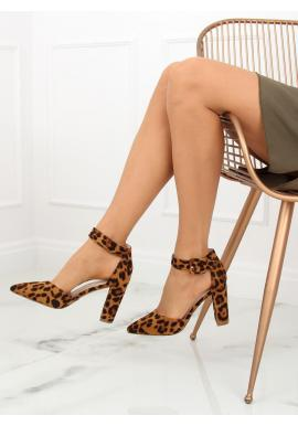 Dámske semišové sandále na podpätku so zapínaním v hnedej farbe