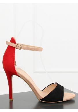 Oranžové semišové sandále na stabilnom podpätku pre dámy