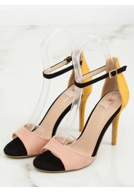 Čierno-červené semišové sandále na podpätku pre dámy