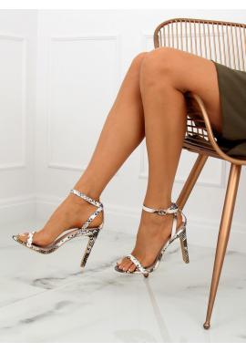 Dámske semišové sandále na podpätku v béžovo-sivej farbe