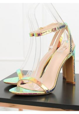 Dámske sandále na podpätku s motívom hadej kože v hnedej farbe