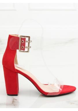 Dámske semišové sandále na stabilnom podpätku v čiernej farbe