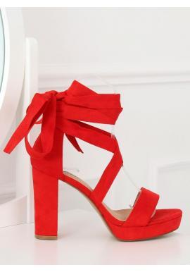 Dámske semišové sandále na podpätku s viazaním okolo nohy v sivej farbe