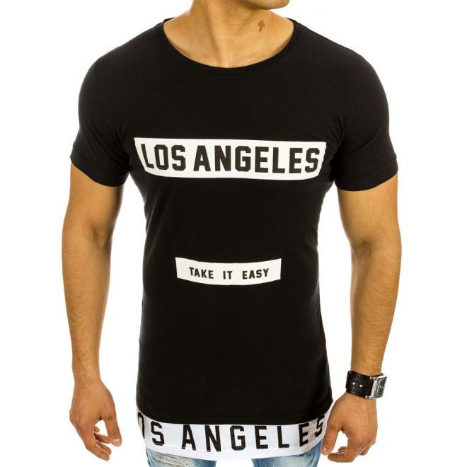 Predĺžené pánske tričko s potlačou v čiernej farbe - skvelamoda.sk ba7a969e401