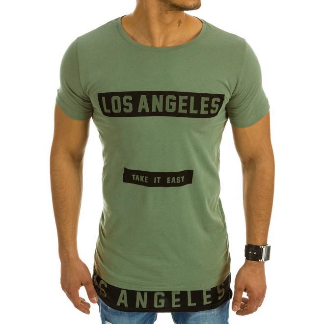 Pánske predĺžené tričko zelenej farby s potlačou - skvelamoda.sk 69f9103fcec