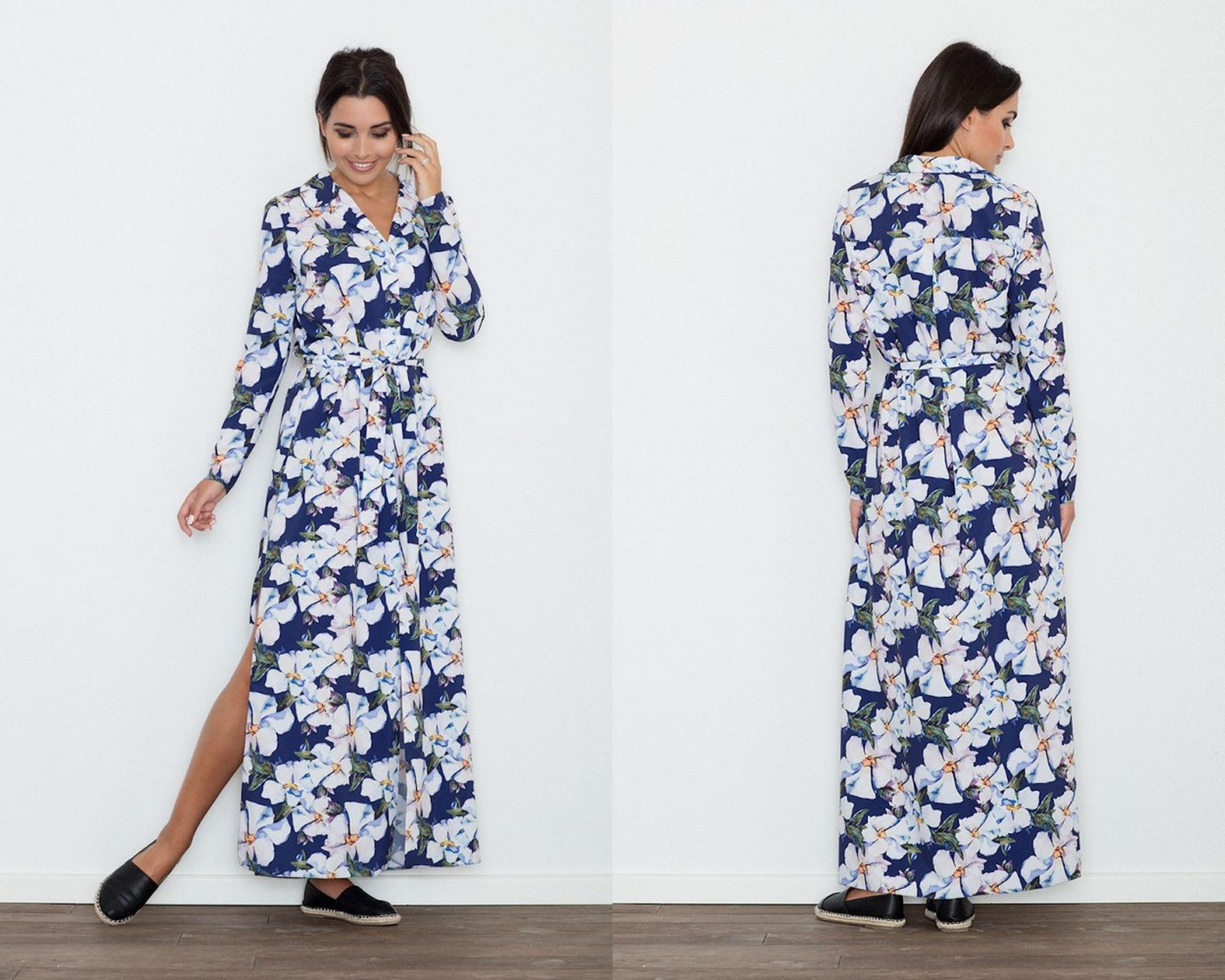 9119c7557912 Dlhé šaty – maxi šaty s motívom kvetov a s dlhým rukávom.