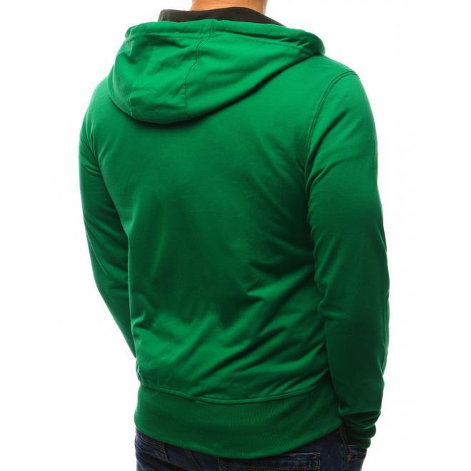 Pánska mikina na zips s potlačou a dvomi vreckami v zelenej farbe