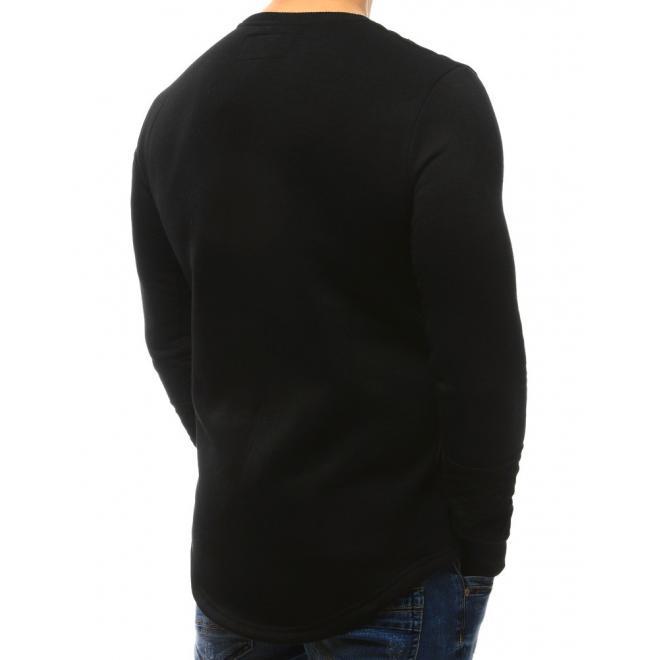 Čierna mikina so zaoblenou dolnou časťou pre pánov