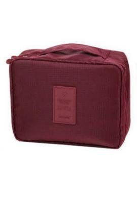 Unisex kozmetická taška s množstvom vreciek korálovej farby