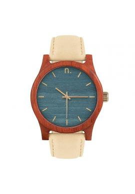 Drevené pánske hodinky hnedo-čiernej farby s koženým remienkom