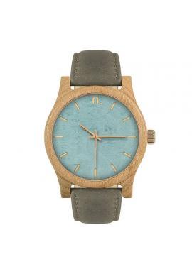 Drevené pánske hodinky béžovo-bordovej farby s koženým remienkom