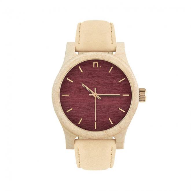 91521822bb0f Drevené dámske hodinky béžovo-bordovej farby s koženým remienkom ...