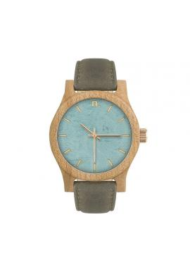 Dámske drevené hodinky s koženým remienkom v béžovo-ružovej farbe