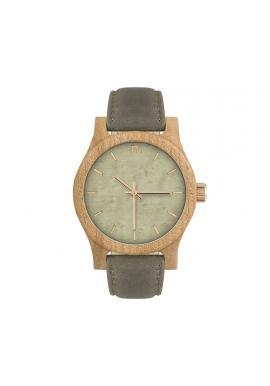 Hnedo-olivové drevené hodinky s koženým remienkom pre dámy