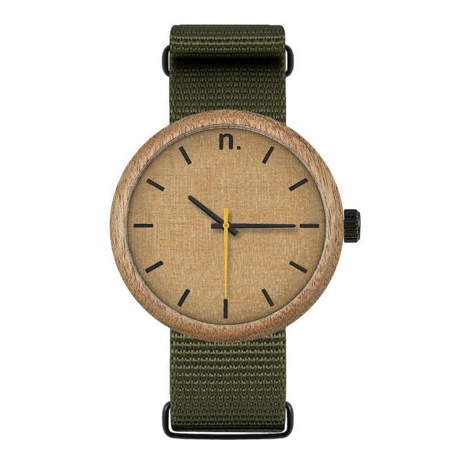 df1963c60 Drevené pánske hodinky zeleno-béžovej farby s textilným remienkom ...