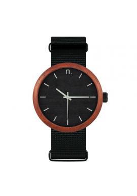 Čierne drevené hodinky s textilným remienkom pre dámy