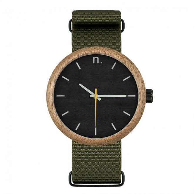 5961d2234 Drevené pánske hodinky zeleno-čiernej farby s textilným remienkom ...