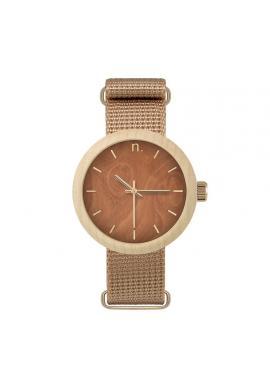Béžovo-modré drevené hodinky s textilným remienkom pre dámy