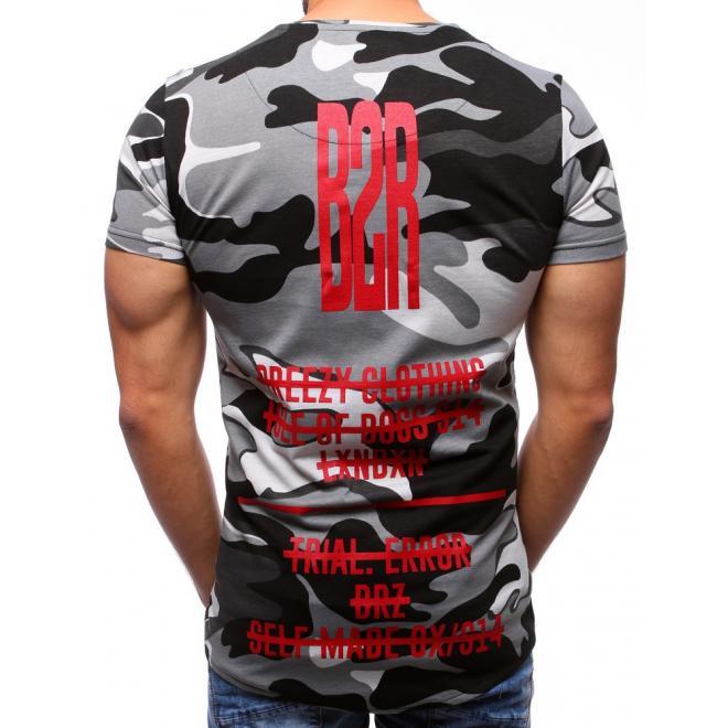 02218b199b81 Pánske maskáčové tričko sivej farby s krátkym rukávom - skvelamoda.sk