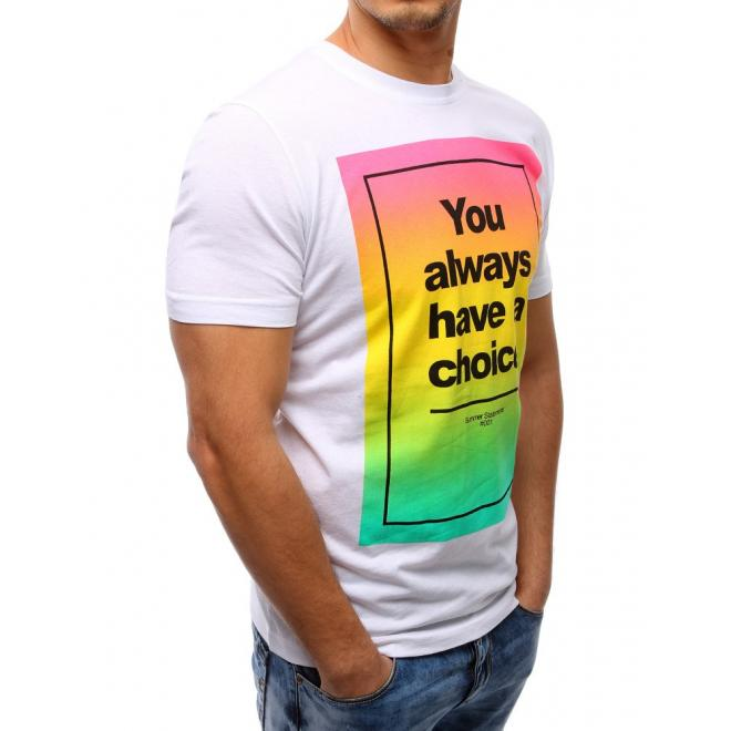 Pánske tričko bielej farby s farebnou potlačou