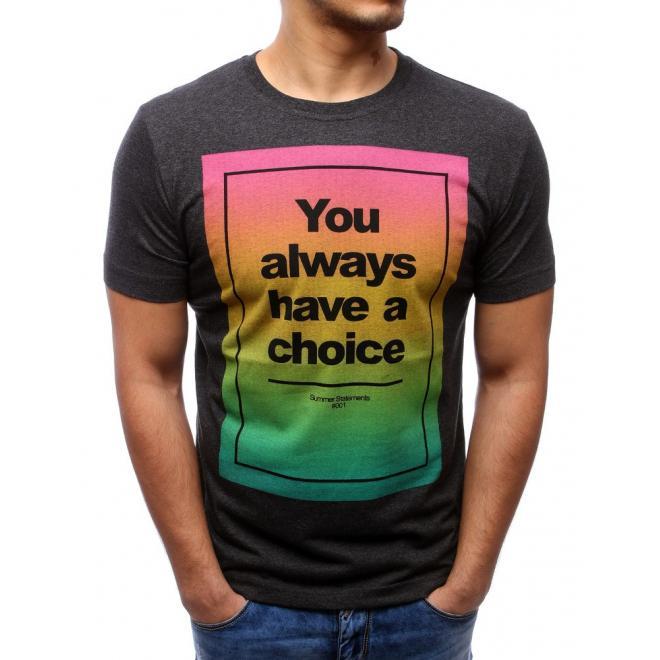 Čierne tričko s farebnou potlačou pre pánov