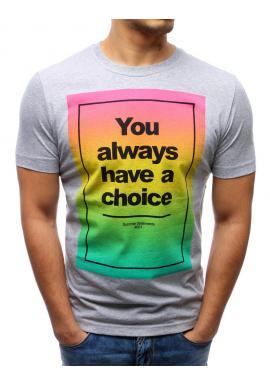 Pánske tričko tmavomodrej farby s farebnou potlačou