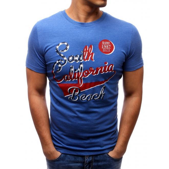 Modré tričko s nápisom pre pánov
